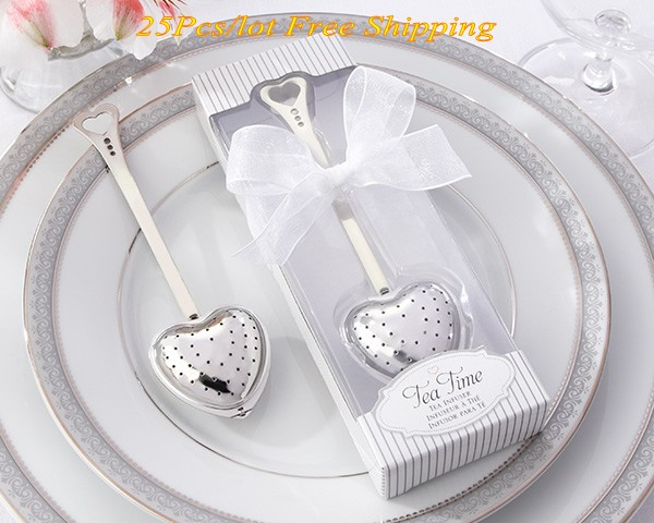 (25 Pieces/lot) Wedding and Party Decoration favors of Tea Time Heart Tea Infuser in white gift box Wedding door gift for guests