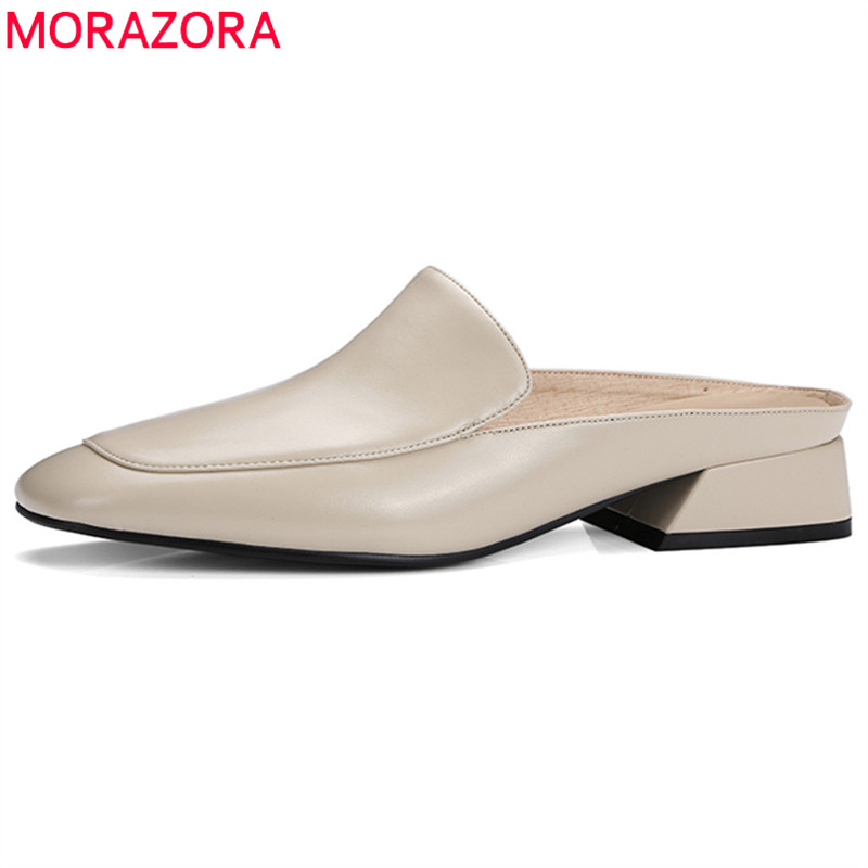 MORAZORA 2018 hot sale women sandals genuine leather ladies shoes solid color casual summer shoes 4cm square heel shoes woman 2017 real top cover heel open casual sapato feminino melissa genuine big size retro solid square heel shoes woman ladies womens