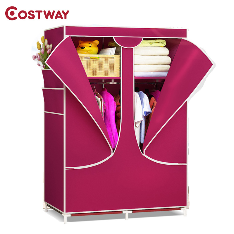 COSTWAY Bedroom Solid Color Non-woven Wardrobe Cloth Storage Saving Space Locker Closet Sundries Dustproof Storage Cabinet W0104 simple fashion moistureproof sealing thick oxford fabric cloth wardrobe rustproof steel pipe closet 133d