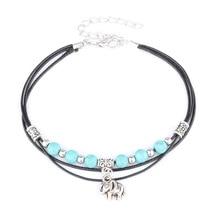 NEW Lucky Antique Silver Green Bead Bell Wax Cord Elephant Glamorous Handmade Ankle bracelet for women Boho Beach Foot Jewelry