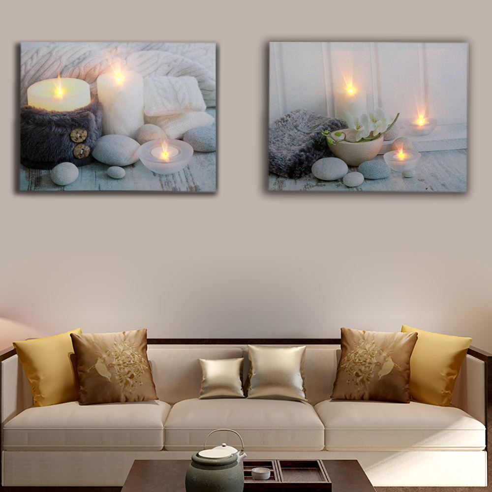 Led Wall Decor White Tealights With Stones Picture Canvas Art Light