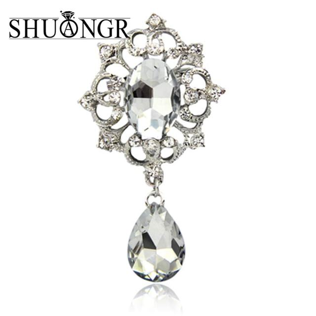SHUANGR Jewelry New Arrival Flower Brooches Bouquet European Style Clear Cubic ZIrcon Wedding Bridal Apparel Accessories