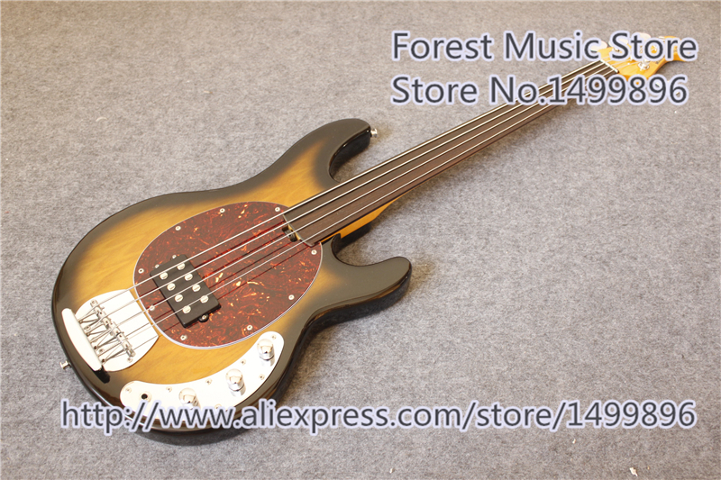 China Vintage Sunburst Finish Fretless Music Man Electric Bass Guitar & 4 String Bass Guitar Free Shipping china custom fretless 4 string music man electric bass guitar in glossy black in stock