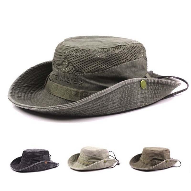 Jeans Sun Hat Men Bucket Hats Women Summer Fishing Cap Wide Brim UV Protection Flap Hat Breathable Mesh Bone Gorras Beach Hat