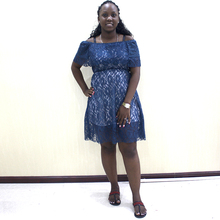Dubai Classy Lace Dresses Women Two-layers Home Wearing Puff Shulder Mini