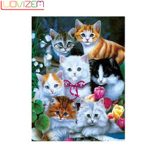Diamond Painting 5D Diy Cat Cartoon 3D Embroidery Animal Cross Stitch Home Decoration.LUOVIZEM L212