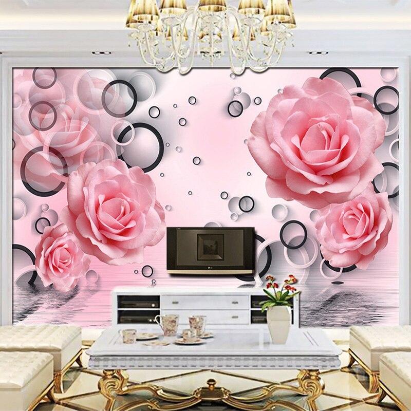 Modern Simple Pink Rose Circle Photo Wallpaper Living Room Bedroom ...