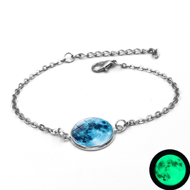 Glow In The Dark Charms Bracelet Glass Cabochon Gray Moon Luminous Jewelry Silver Chain Link Bracelets for Women Girl Gift 3
