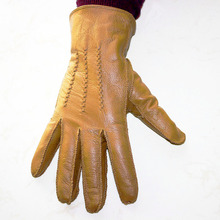 Sheepskin gloves mens buckskin pattern autumn and winter plus velvet warm outer seam leather outdoor riding