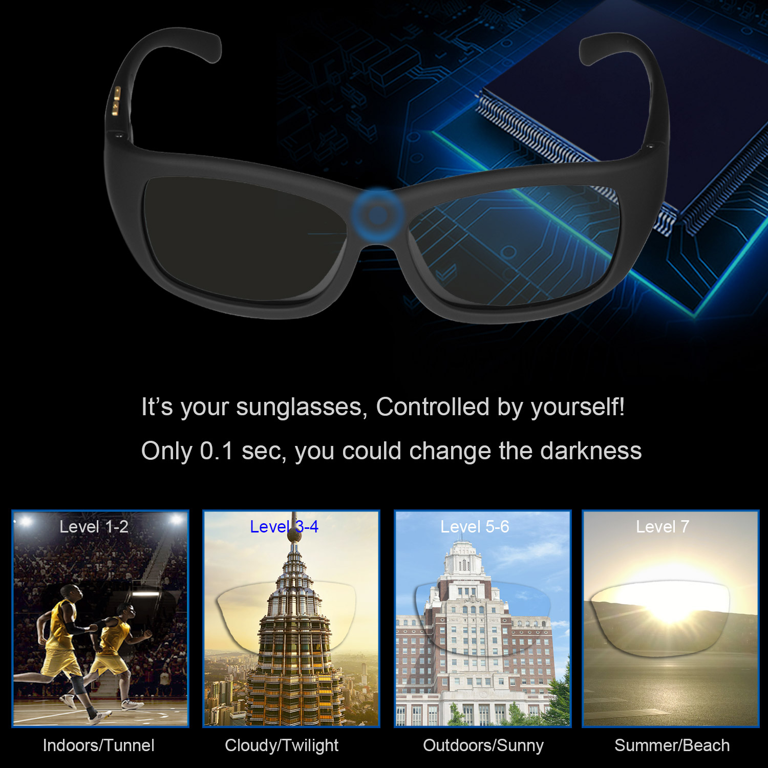 Men Sunglasses with Variable Electronic Tint Control Lens Smart Sunglasses Men Polarized for Driving Fishing Travelling 2018 New 1