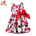 Monkids 2016 Fashion Style Girls Dress Cartoon KT Princess Dress Bow Kids love Children's Clothing Girls Clothes Sleeveless