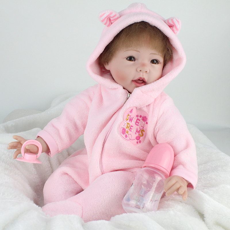 ФОТО 22inch Bebe Reborn Dolls Soft Baby Doll Toys Realistic 55cm Soft Silicone Reborn Dolls Toys Brinquedos For Kids Chirstmas Gift