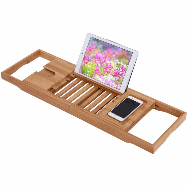 Extendable Bathroom Storage Shelf Holder Over Bath Caddy Wooden ...