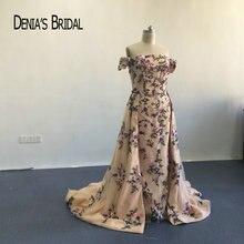 2020 Famous Aishwarya Rai Colorful Red Carpet Dresses Off the Shoulder Embroidery Short Sleeve Sheath Evening Dresses