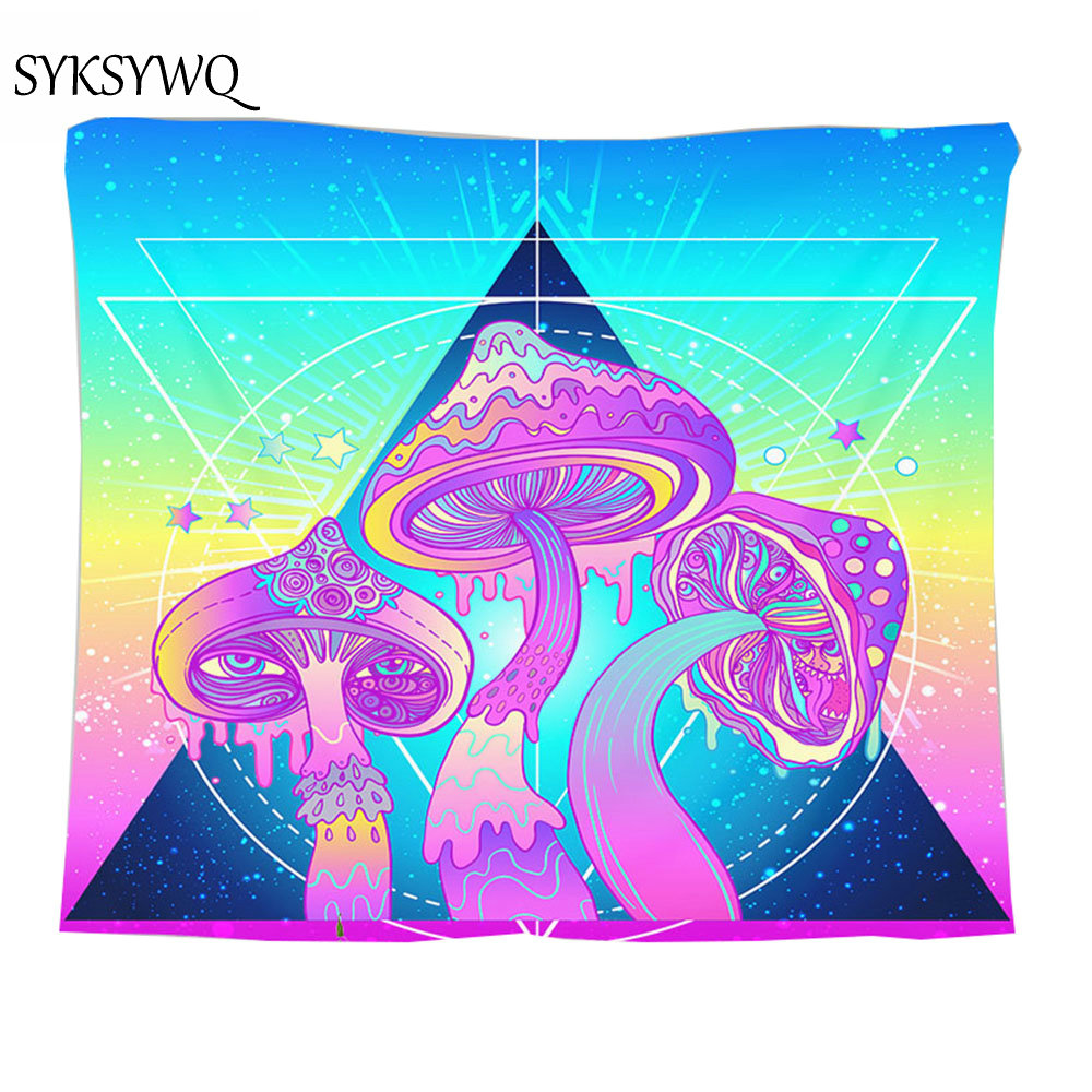 Psychedelic Tapestry 3d Mushroom Wall Cloth Tapestries Blanket Trangle Five Star Round Cycle Boho Wedding Decor Wall Rug