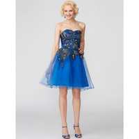 TS Couture A Line Princess Sweetheart Short Mini Lace Over Tulle Cocktail Party Dress With Pattern