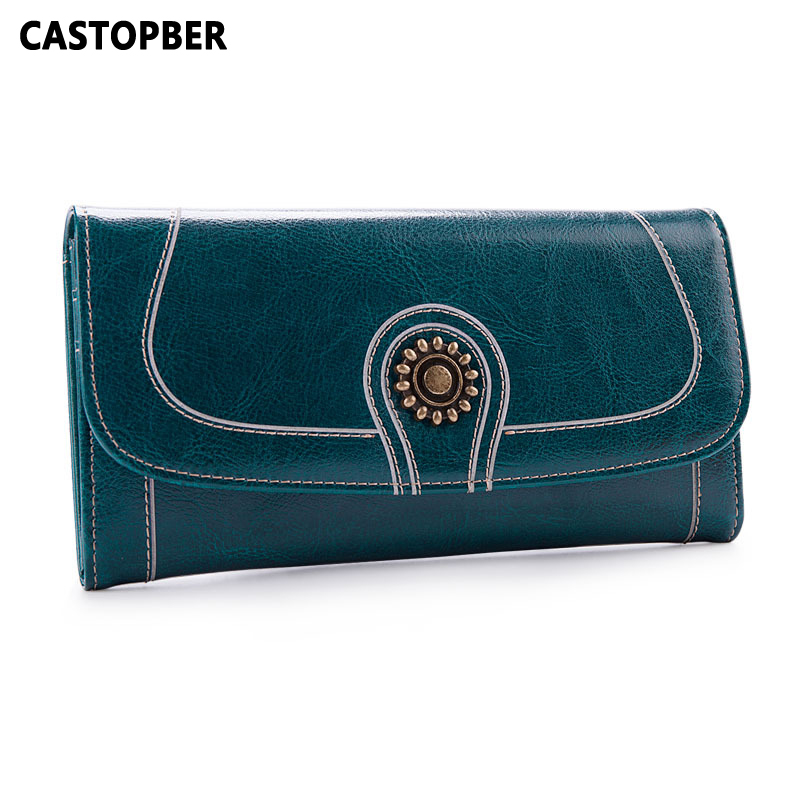 2017 Women Wallet Vintage Oil Wax Cowhide Split Leather Long Purse Clutch Wallets Retro Bag Ladies Organizer Female Famous Brand european ways of law