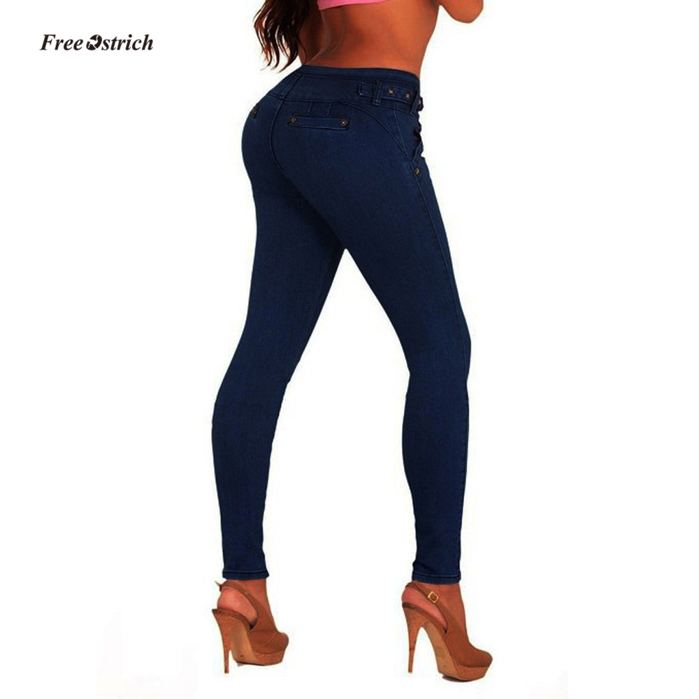 Free Ostrich Clothes Women   Jeans   Women High Waisted Skinny Denim   Jeans   Stretch Slim Pants Calf Length   Jeans   NEW Pencil Pants