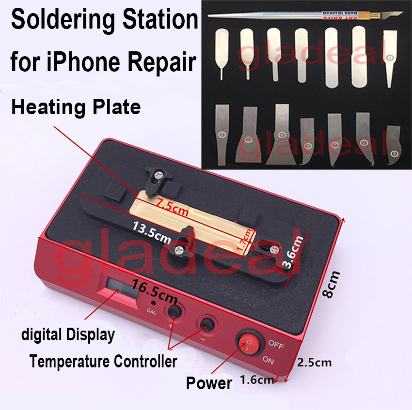 Chip Heating Station Soldering Welding Rework Plateform For iPhone NAND CPU A8 A9 BGA IC Removal Disassemble Desoldering Tools ppd 120e low temperature welding platform demolition for iphone 7 6s a8 a9 bga chip cpu bga removing refurbished rework station