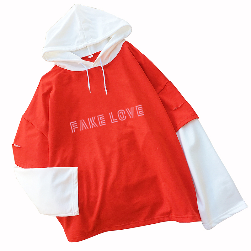 Kpop Fake Love T shirts Women Korean Bangtan Boys Tshirt Casual Harajuku Top Tee Letter Print Spell Color Splicing Clothing(China)
