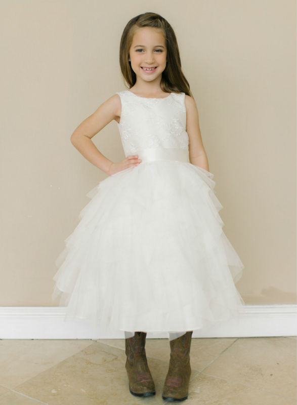 Lace Flower Girls Dresses For Wedding Gown White Girl Birthday Party Dress A-Line Holy Communion Dresses Mother Daughter Dresses design square snow white laser cut wedding cards for invitations flower lace blank inside printing invitation card kit invite