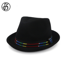 FS Black Bowler Hat British Style Wool Hats Top Felt Fedora For Wome Men  Godfather Rainbow bedc086691a