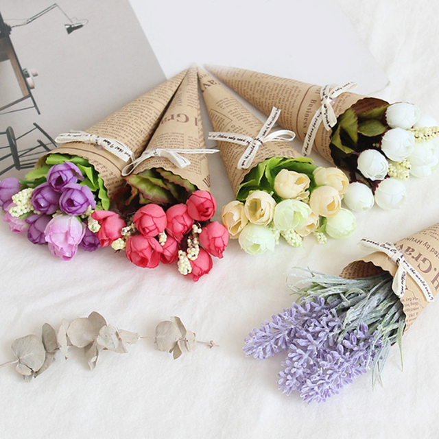 New Mini Paper tube Artificial Plants Wedding Flower Photo props bouquet flowers Birthday Present Home Decoration Fake Flowers 5