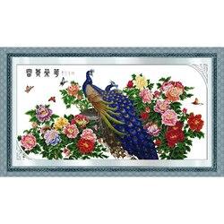 Wieczna miłość bogactwo i honor (pawi edition) chiński cross zestaw do szycia ekologiczna bawełna DIY dekoracje dla domu