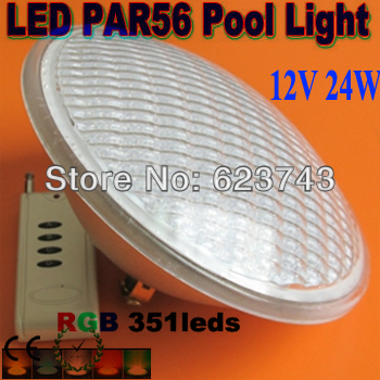 Free Shipping Par56 RGB LED Light Swimming Pool light 24W 351LED Fountain Lamp Underwater IP68 flood AC12V+Remote controller