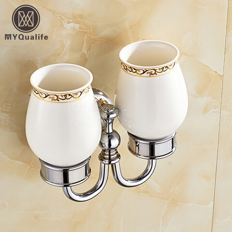 Chrome & Ceramic Wall Mount Cup & Tumbler Holders Luxury Double Toothbrush Cup Rack Bathroom foldable cup rack