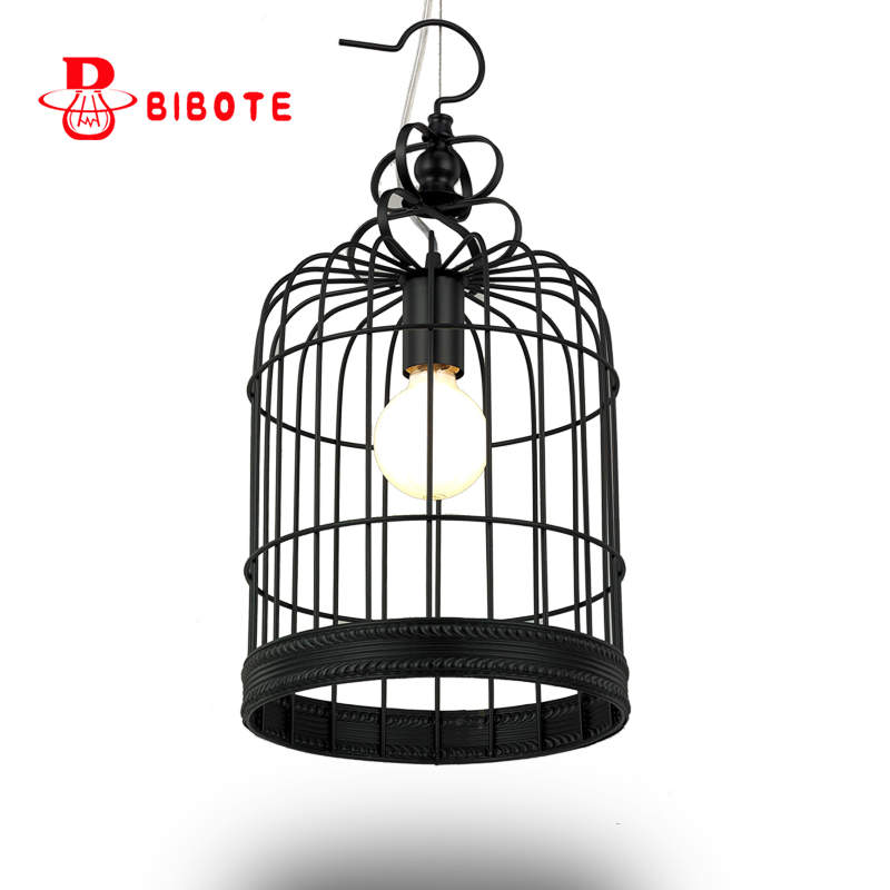 Creative personality with LED bulb vintage Restaurant Bar Cafe American living room pendant light wrought iron Iron art pendant retro vintage pendant light industrial classical loft lamps bar cafe living room restaurant wrought iron pendant cages lamp