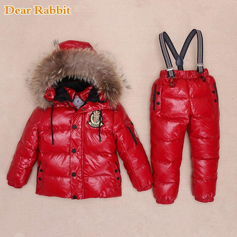 -30 degrés Russie Hiver Ski Salopette Enfants Vêtements Garçons Filles Sport Costume Enfants Neige Porter Vestes manteaux Bib pantalon étanche