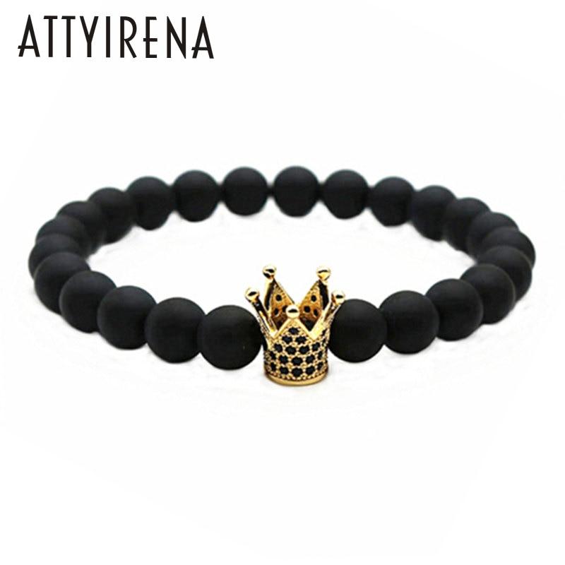 ATTYIRENA Hot Sale Micro Pave Black CZ Zirconia Gold Color King Crown Charm elastic Bracelet Men Matte Stone Bead Bracelet