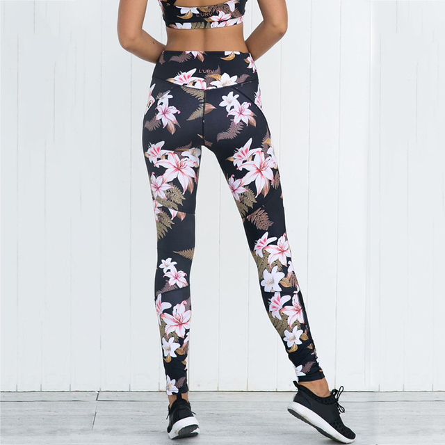 ac3237816208cd Women Floral Printing Yoga Pants Tights Fitness Mesh Patchwork Pants High  Elastic Workout Running Gym Leggings Plus Size