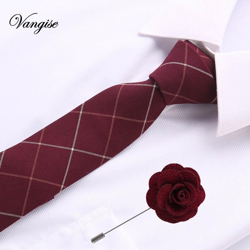 Britishe Style 6cm Fashion Ties Slim Gravatas Wine Red Tie&pin Cotton Neckties For Men Wedding Business Striped & Plaid Bow Tie