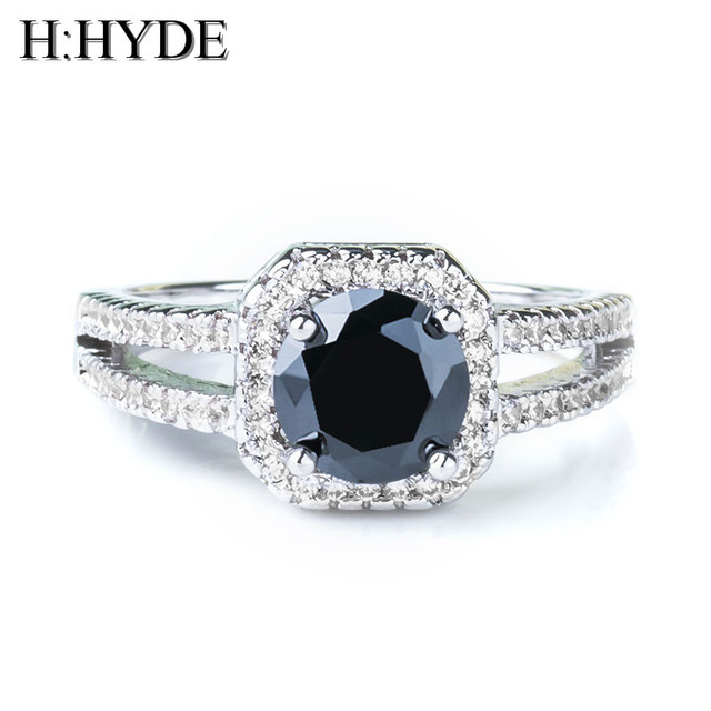 H:HYDE Classic 9 Colors 1Ct AAA CZ Stone Wedding Ring For Wom charming Cubic Zirconia ring jewelry for party Gift anillos mujer
