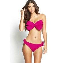 2017 new lady sexy swimsuit entity swimsuit Brazil bikini big bow bikini beach clothing bandage swimsuit push on swimsuit S-XL