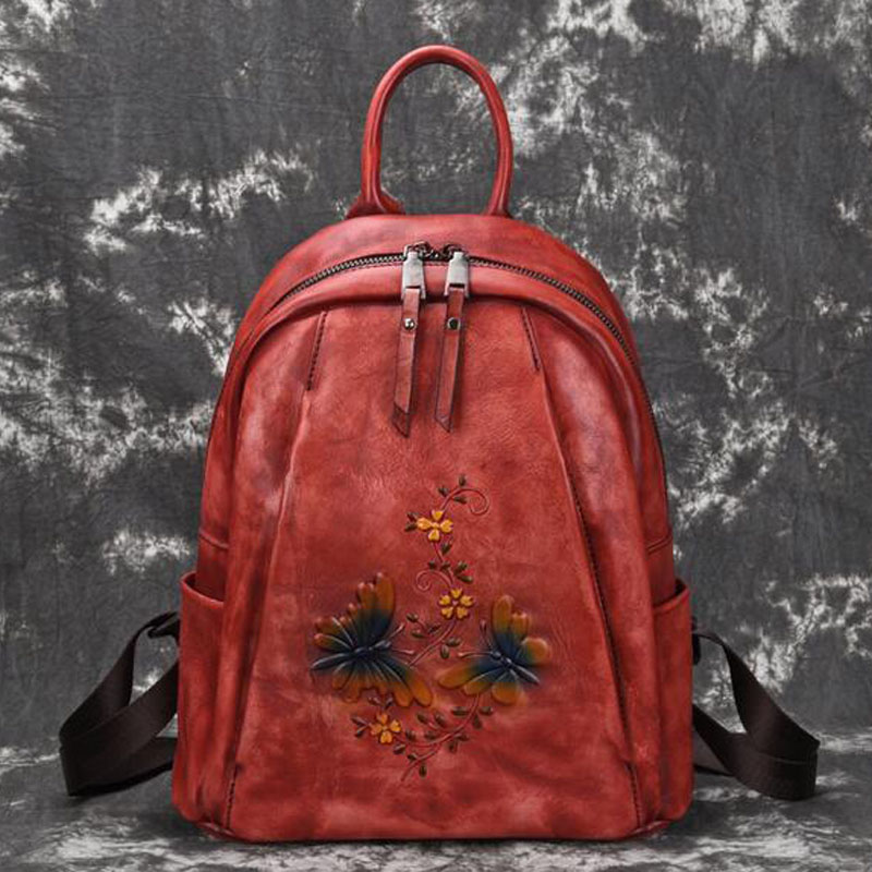 Natural Skin  Women Genuine Leather Backpack Embossing Travel Bag Retro Brush Color Daypack Knapsack High Quality RucksackNatural Skin  Women Genuine Leather Backpack Embossing Travel Bag Retro Brush Color Daypack Knapsack High Quality Rucksack