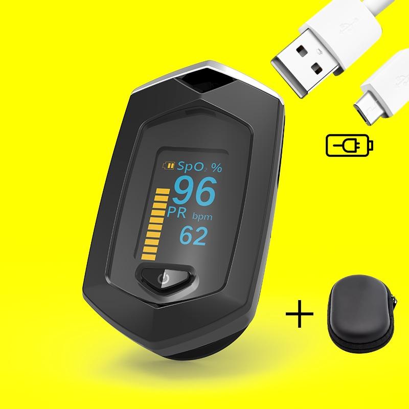 BOXYM Medical Recarregável OLED Dedo Oxímetro de pulso de oxigênio no sangue Monitor de Freqüência Cardíaca SpO2 Oxímetro De Dedo Oxímetro De Pulso