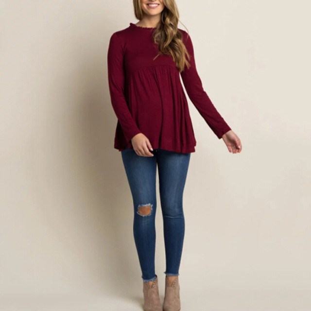 Soft Comfortable Womens Pregnants Tops Cotton O-Neck Solid Color Long Sleeve Nursing Clothes Baby For Maternity T-Shirt Clothes