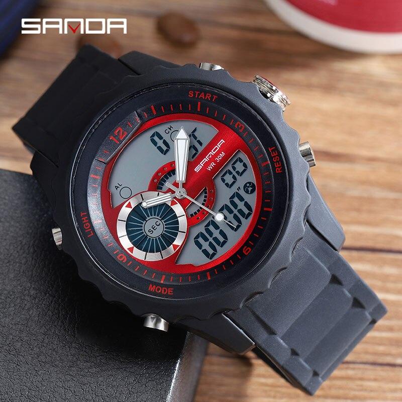 2018 Санда Военный Спорт Horloge Mannen Waterdichte Elektronische светодиодный Digitale Horloge Mannelijke клок Siliconen Horloge 769