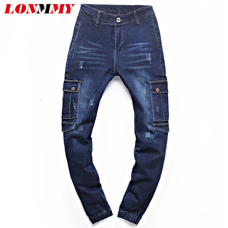LONMMY 30-40 Skinny jeans men Military Multi-pocket Fashion Denim overalls mens jeans Casual trousers Slim fit Small bottom 2017