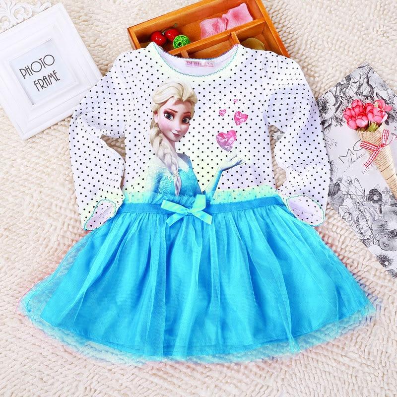 New Summer Snow Queen Elsa Kids Girls Clothing Long sleeve Cotton Dress baby kids tutu princess girls dresses 3-10Y