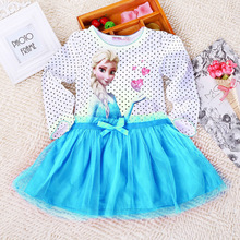 New Summer Snow Queen Elsa Kids Girls Clothing Long sleeve Cotton Dress baby kids tutu princess girls dresses 3-10Y
