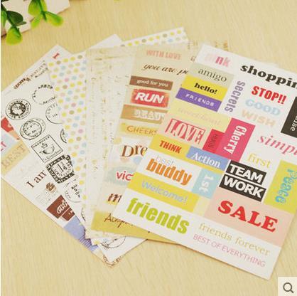 [4Y4A] 6pcs Diy album accessories manual retro stamps letter stickers