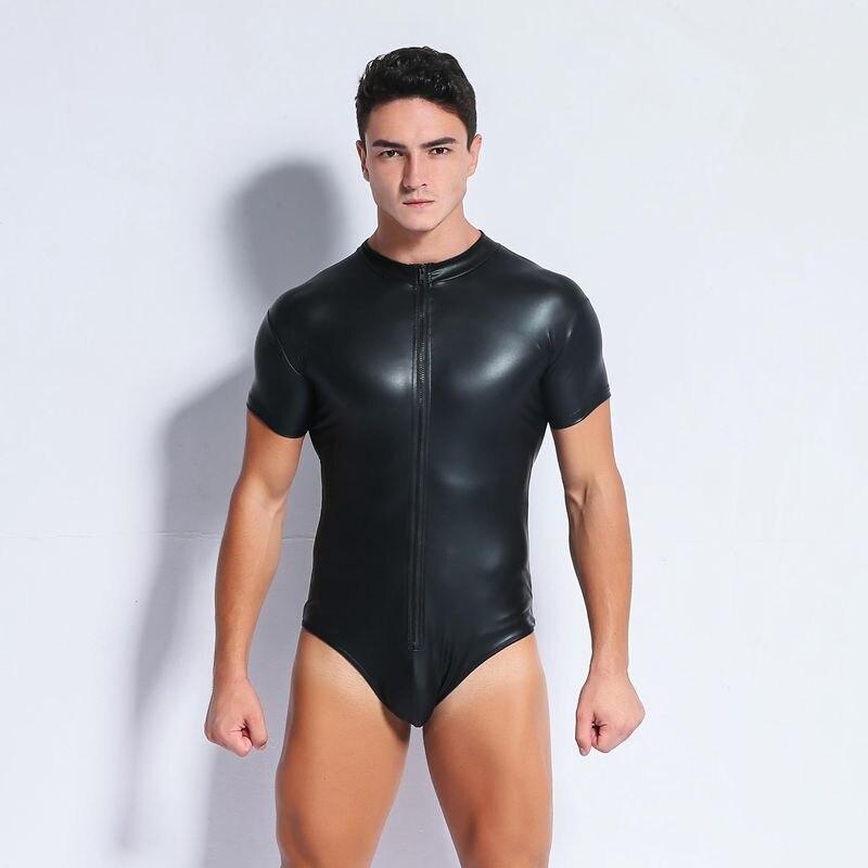 Plus Size S-XXXXL Sexy Men's Leather Bodysuit PU Latex Catsuit Men Sexy Lingerie Patent Leather One-piece Leotard Gay Wear