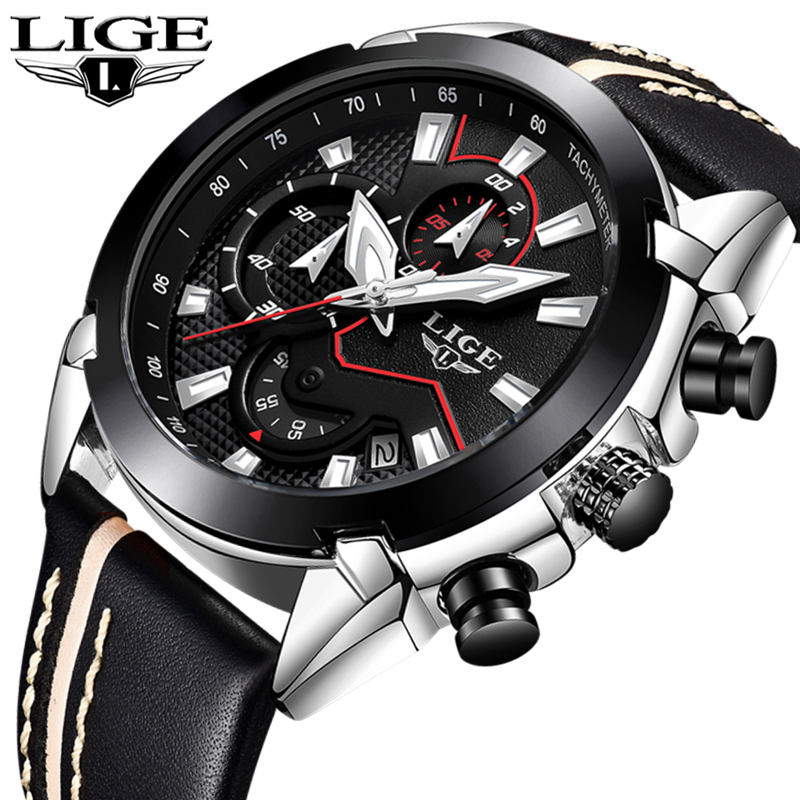 LIGE Men s Casual Sport Quartz Watch Mens Watches Top Brand Luxury Quartz watch Leather Strap