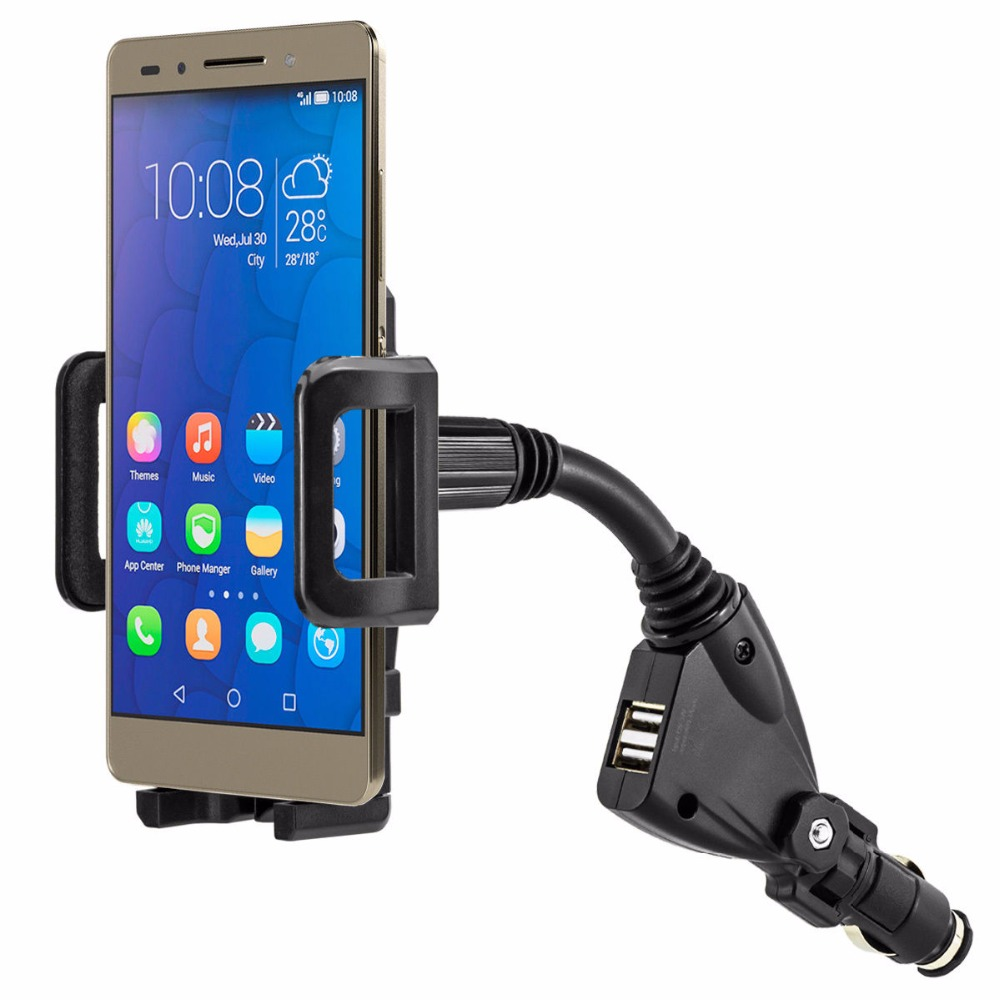 imágenes para 360 Rotating Universal Dual USB 2 Puerto Del Cargador Del Coche Del Teléfono Celular Titular para Huawei Honor 7 4C 5c Lite P8 P9 6 Más Soporte soporte