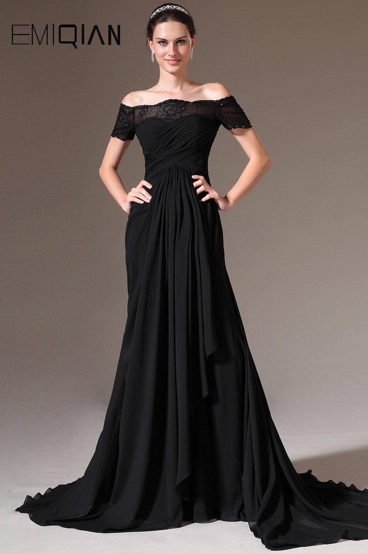 Livraison gratuite une ligne Bateau cou Cap manches Court Train noir mousseline de soie robe de soirée en dentelle