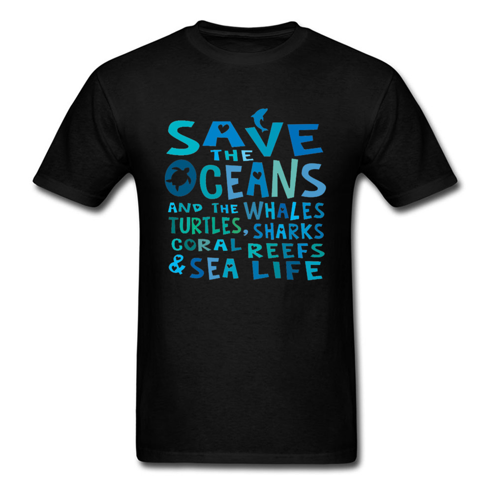Turtle Dolphin Wave Letter Print Tops T Shirt Save The Oceans Weather Sea Life Men's Summer Autumn Top T-shirts Drop Shipping